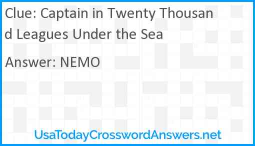 Captain in Twenty Thousand Leagues Under the Sea Answer