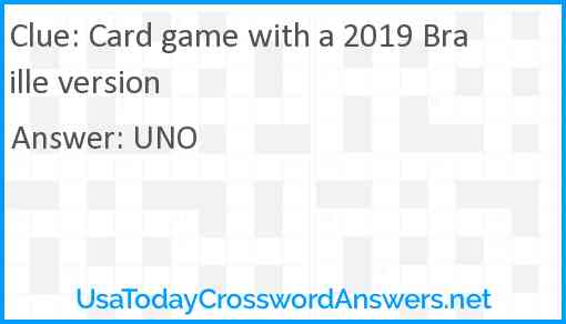 Card game with a 2019 Braille version Answer