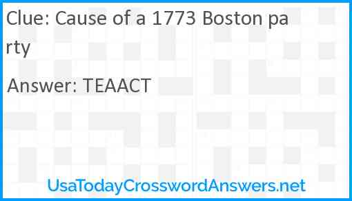 Cause of a 1773 Boston party Answer