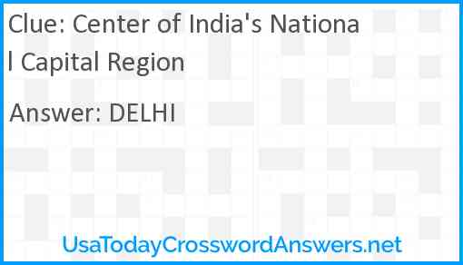 Center of India's National Capital Region Answer
