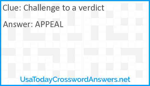 Challenge to a verdict Answer