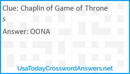 Chaplin of Game of Thrones Answer