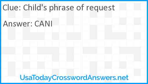 Child's phrase of request Answer