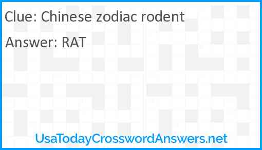 Chinese Zodiac Rodent Crossword Clue Usatodaycrosswordanswers Net