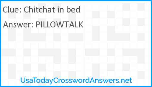 Chitchat in bed Answer
