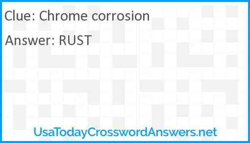 Chrome corrosion Answer