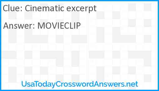 Cinematic excerpt Answer