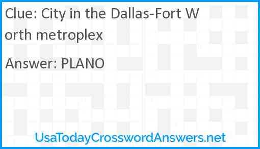 City in the Dallas-Fort Worth metroplex Answer