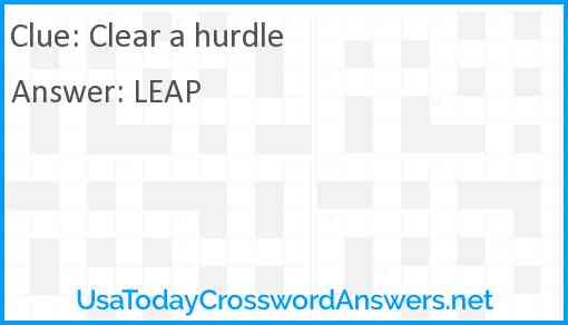 Clear a hurdle Answer