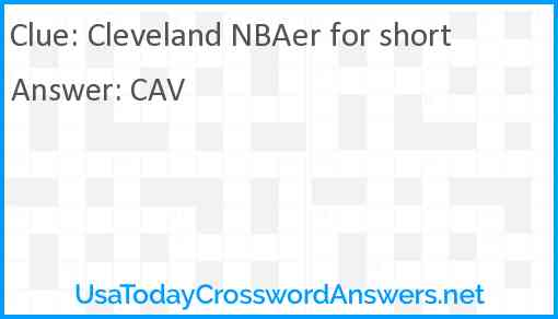 Cleveland NBAer for short Answer