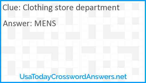 Clothing store department Answer