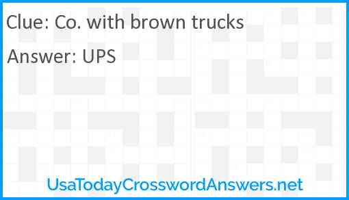 Co. with brown trucks Answer
