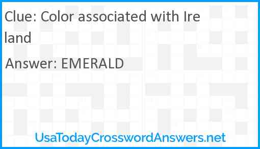 Color associated with Ireland Answer