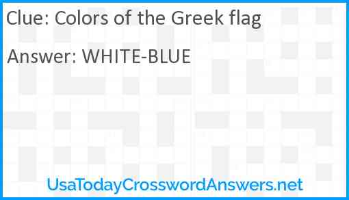 Colors of the Greek flag Answer