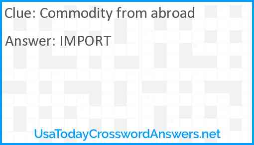 Commodity from abroad Answer