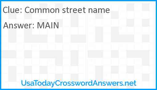 Common street name Answer