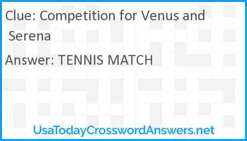 Competition for Venus and Serena Answer
