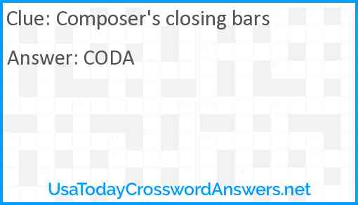 Composer's closing bars Answer