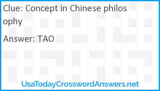 Concept in Chinese philosophy Answer