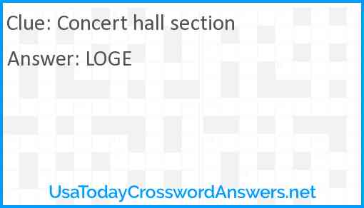Concert hall section Answer