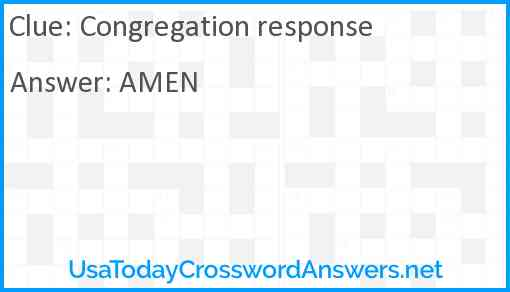 Congregation response Answer