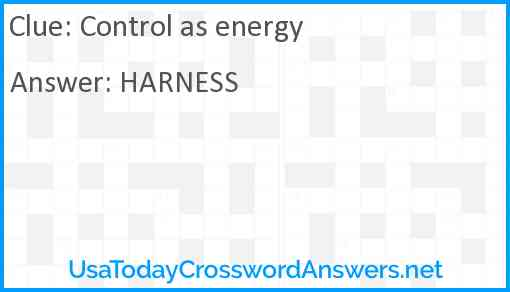 Control as energy Answer
