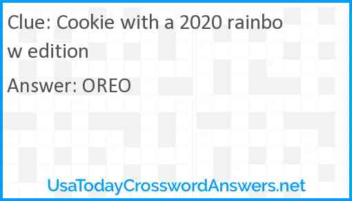 Cookie with a 2020 rainbow edition Answer