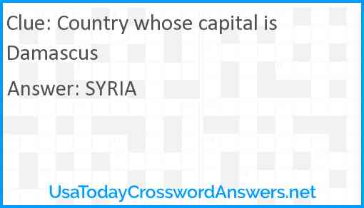 Country whose capital is Damascus Answer