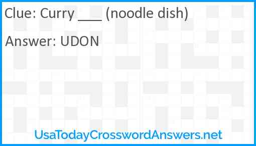 Curry ___ (noodle dish) Answer