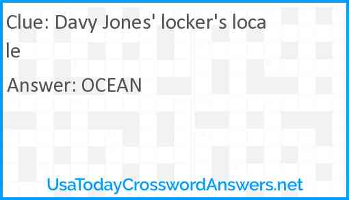 Davy Jones' locker's locale Answer