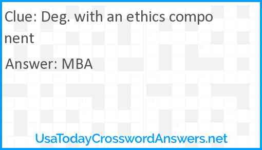 Deg. with an ethics component Answer