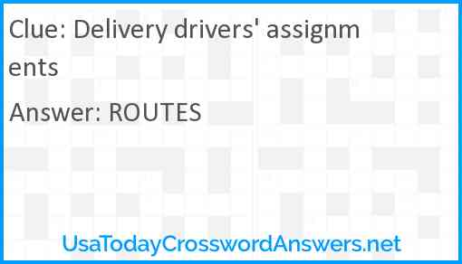 Delivery drivers' assignments Answer