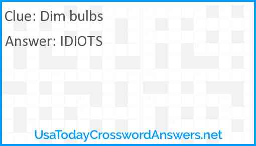 Dim bulbs Answer