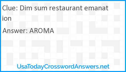 Dim sum restaurant emanation Answer
