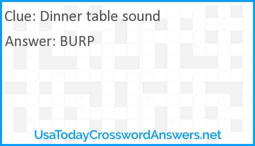 Dinner table sound Answer