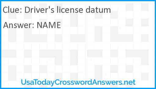 Driver's license datum Answer