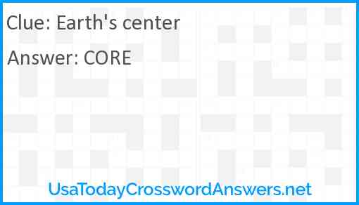 Earth's center Answer