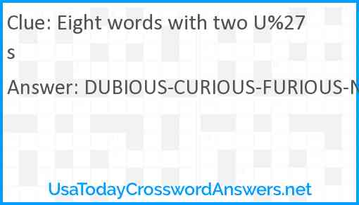 Eight words with two U%27s Answer
