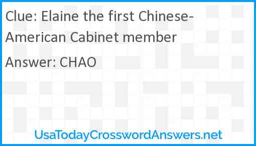 Elaine the first Chinese-American Cabinet member Answer