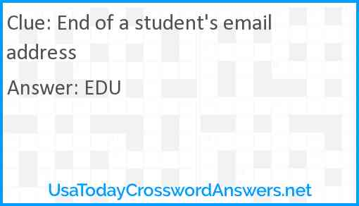 End of a student's email address Answer