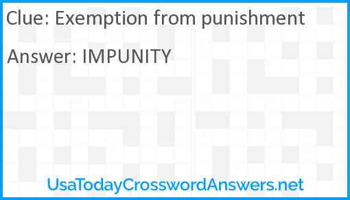 Exemption from punishment Answer