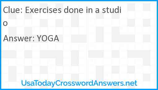 Exercises done in a studio Answer