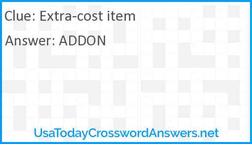 Extra-cost item Answer