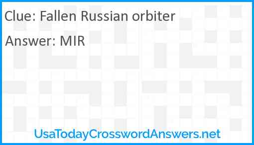 Fallen Russian orbiter Answer