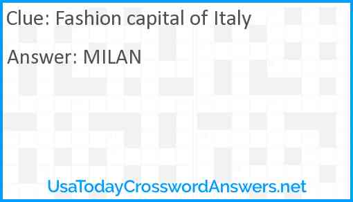 Fashion capital of Italy Answer