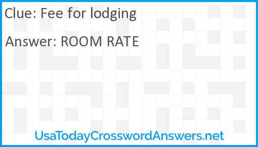 Fee for lodging Answer