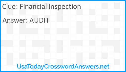 Financial inspection Answer