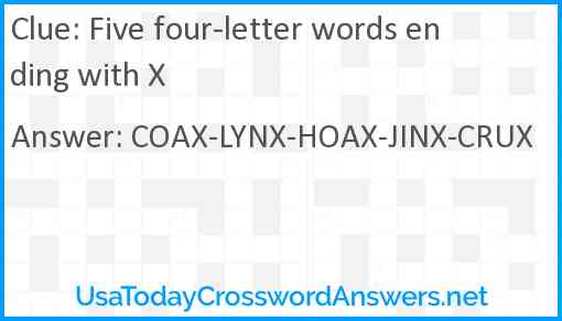 Five four-letter words ending with X Answer