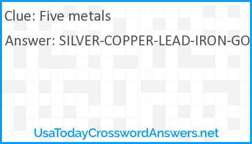 Five metals Answer