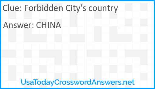 Forbidden City's country Answer